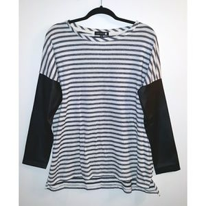 Cotton On Striped faux leather tunic shirt